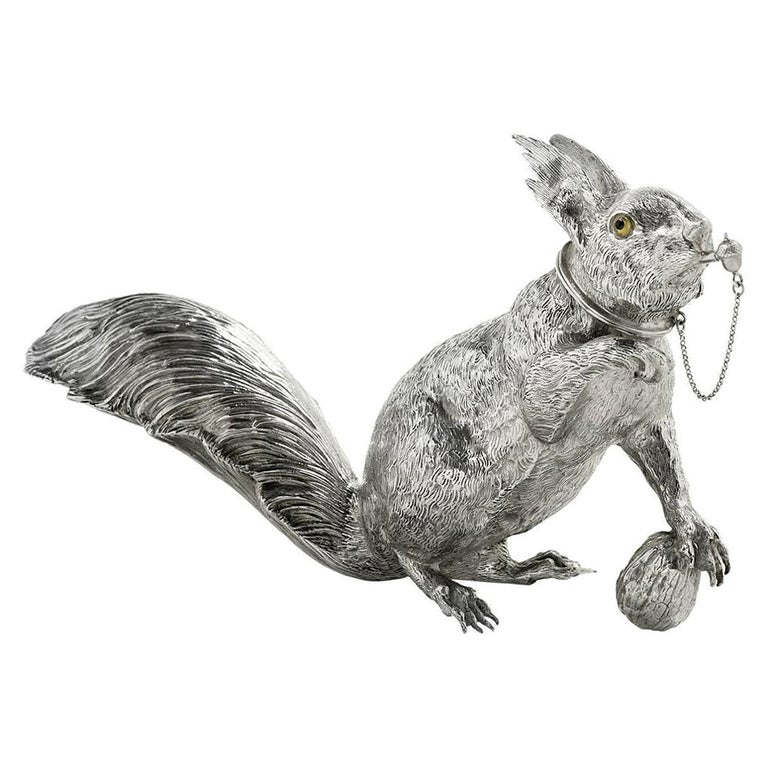 """Sterling Silver """"Squirrel"""" Cocktail Shaker by L. Neresheimer For Sale"""