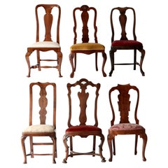 Queen Anne Eclectic Set, Unique Set of Six chairs, Each in Different Design