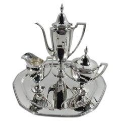 Tiffany Modern Colonial Sterling Silver 3-Piece Coffee Set on Tray