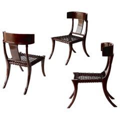 Klismos Chair, Italian Walnut, Brown Stain, Shellac Polish Finish, leather braid