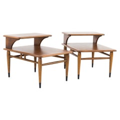 Lane Acclaim Mid Century Walnut Dovetail Step Side End Tables, Pair