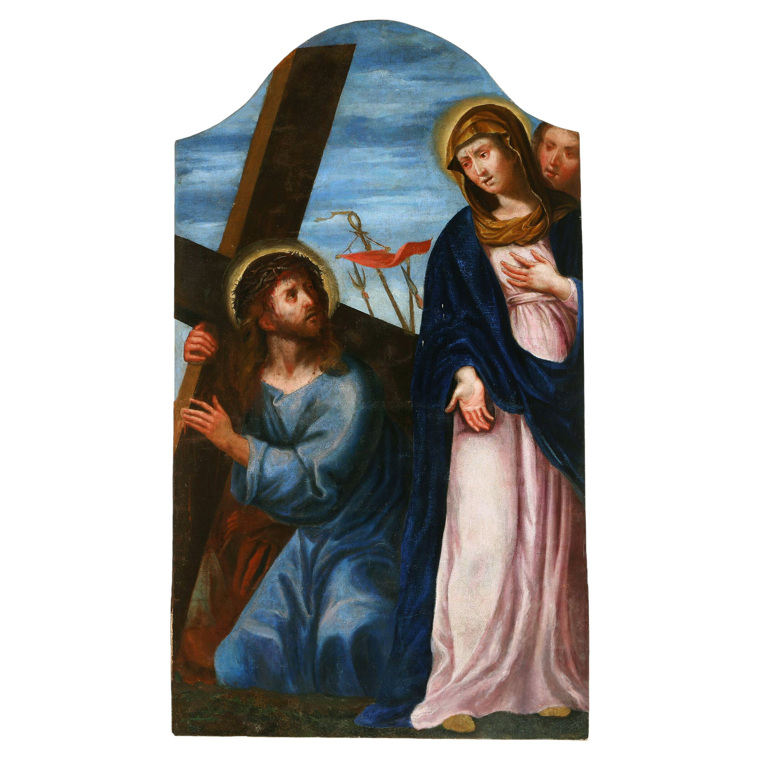 17th-18th Century Jesus with the Cross, Unsigned, Oil on Canvas Laid on Wood