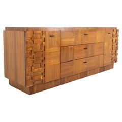 Paul Evans Style Lane Brutalist Mid Century Walnut 9 Drawer Lowboy Dresser