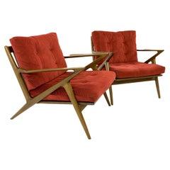 Kofod Larsen for Selig Mid Century Danish Z Lounge Chairs, Pair, Rare