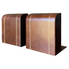 Pair of Brown Leather Bookends, circa 1970