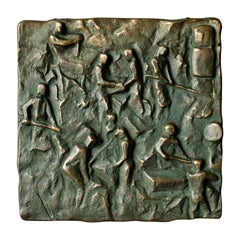 Bronze Push-Pull Door Handle with Craftsmen Motif, Mid-20th Century European
