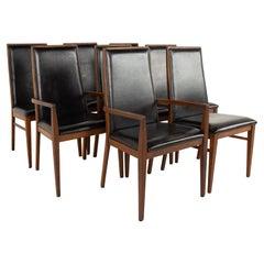 Merton Gershun for Dillingham Mid Century Walnut Dining Chairs, Set of 8