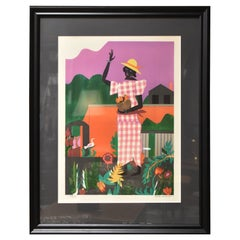 """Romare Bearden Limited Edition Lithograph 148/150 """"Girl In The Garden"""""""