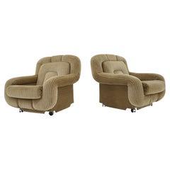 Pair of Rare Mid Century Lounge Armchairs, Italy, 1970s