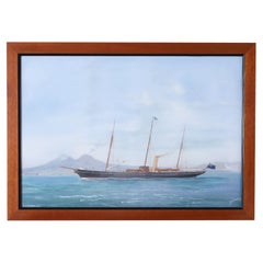 Antique Famed Painting of a Yacht by Antonio DE Simone