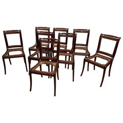 Set of 8 Early 19th Century Dutch Marquetry Dining Chairs