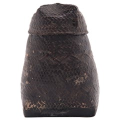Petite Southeast Asian Black Lacquer Woven Box