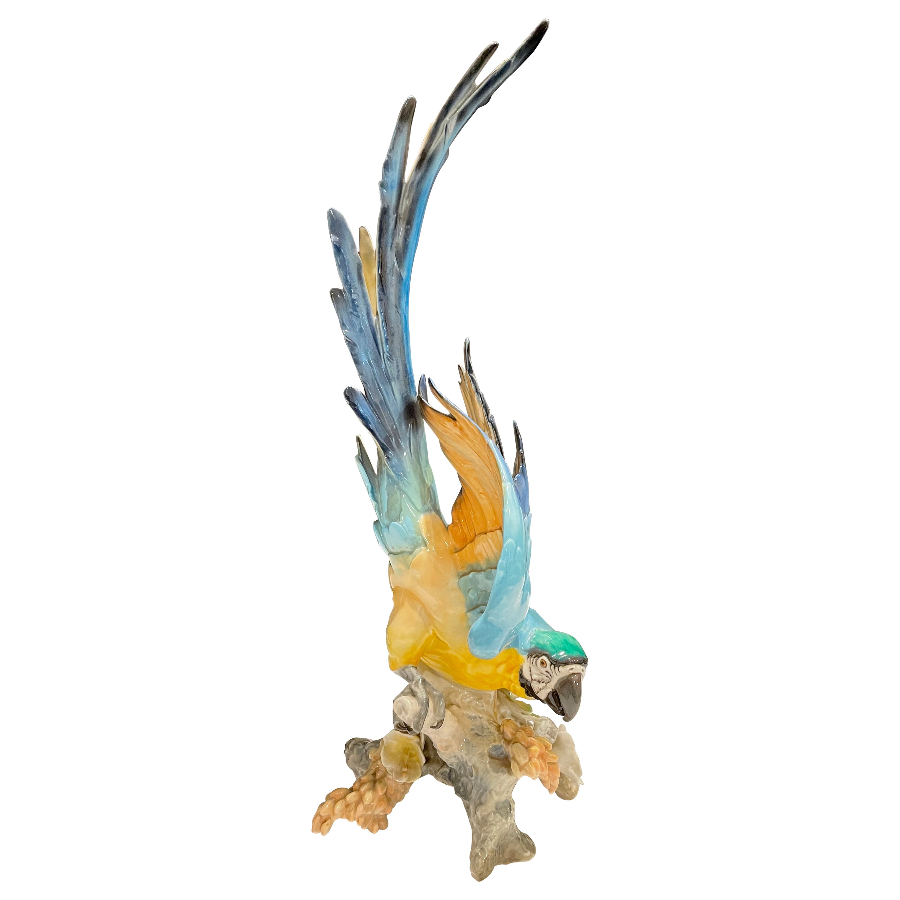 Hutschenreuther Large Blue-and-Gold Macaw, Tropical Parrot
