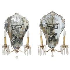 Opposing Pair of Eglomise Art Deco Figural Sconces