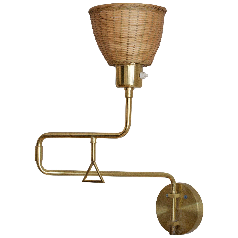 Swedish Designer, Adjustable Wall Light, Brass, Rattan, Sweden, 1970s
