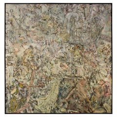 Monumental Abstract Outsider Art Oil Painting on Canvas