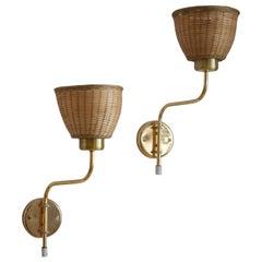 Swedish Designer, Adjustable Wall Lights, Brass, Rattan, Sweden, 1970s