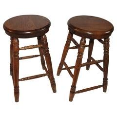 Oak Plank Seat Bar Stools, Pair
