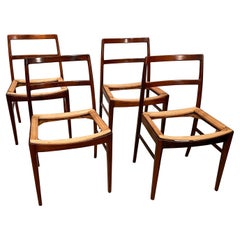 Set of 4 Mid-Century Modern Rosewood Side Chairs with Saddle Seats