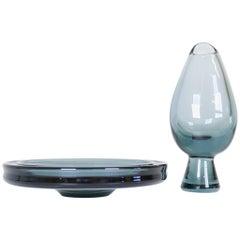 Midcentury Set of 2 Art Glass Vessels by Vicke Lindstrand for Kosta Sweden