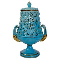 Kitsch Azure Blue / Gold Ceramic Lamp, Italy, 1960s