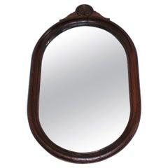 19Thc Oak Oval Wall Mirror