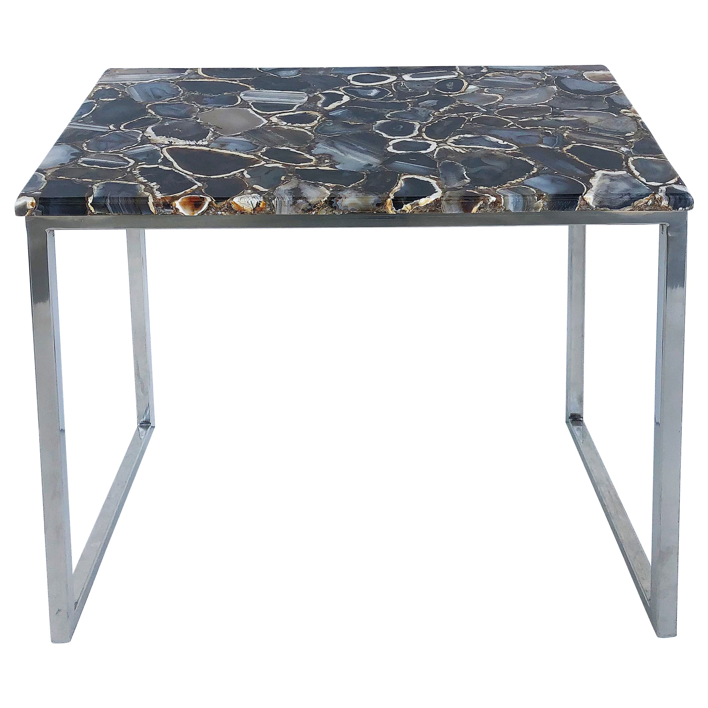 Contemporary Polished Agate and Chrome Side Table