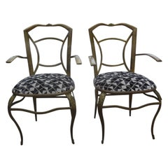 Pair of Italian Gio Ponti Inspired Brass Chairs