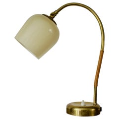 Brass Table Lamp with Glass Shade by Idman Oy, Finland 1950s