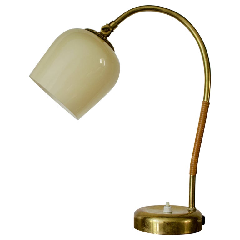Brass Table Lamp with Glass Shade by Idman Oy, Finland 1950s For Sale
