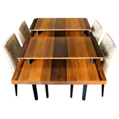 Milo Baughman for Directional Exotic Mixed Wood Dining Table plus 2 Leaves