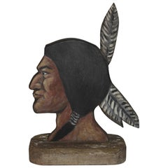 Folky Hand Carved Indian Head
