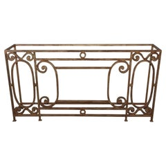 Custom Baroque-Style Wrought Iron Console Table or Server Base