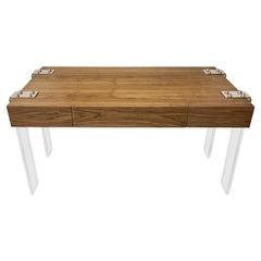 Custom Walnut and Lucite Desk
