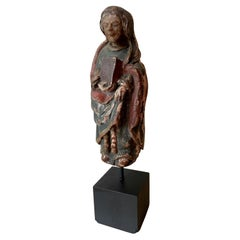 12th Century Rare Romanesque Wood Sculpture of the Virgin Mary