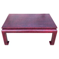 Baker Furniture Grasscloth Wrapped Ming Style Coffee Table