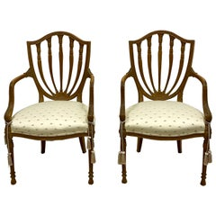Baker Furniture Carved Fruitwood Shieldback Adam Style Chairs, Pair