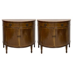 Mid-Century Inland Mahogany Demilune Cabinets by Johnson Furniture Co., Pair