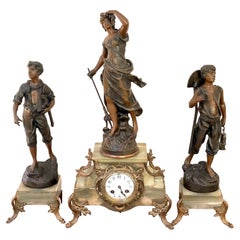 Antique 19th Century French Spelter and Onyx Three Piece Clock Garniture