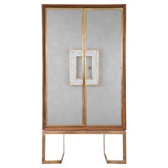 Walnut China Cabinet with Brass Framing and Mother-of-Pearl/ Nacre Handle