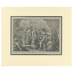 Antique Hunting Print by Galle 'c.1615'