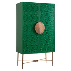Green Lacquered Cabinet with Islamic Pattern and Hand-Crafted Brass Handle
