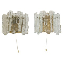 2 Wall Ys Glass Lamps from JT Kalmar Ice Glass Wall Lamps with 2 Light Points