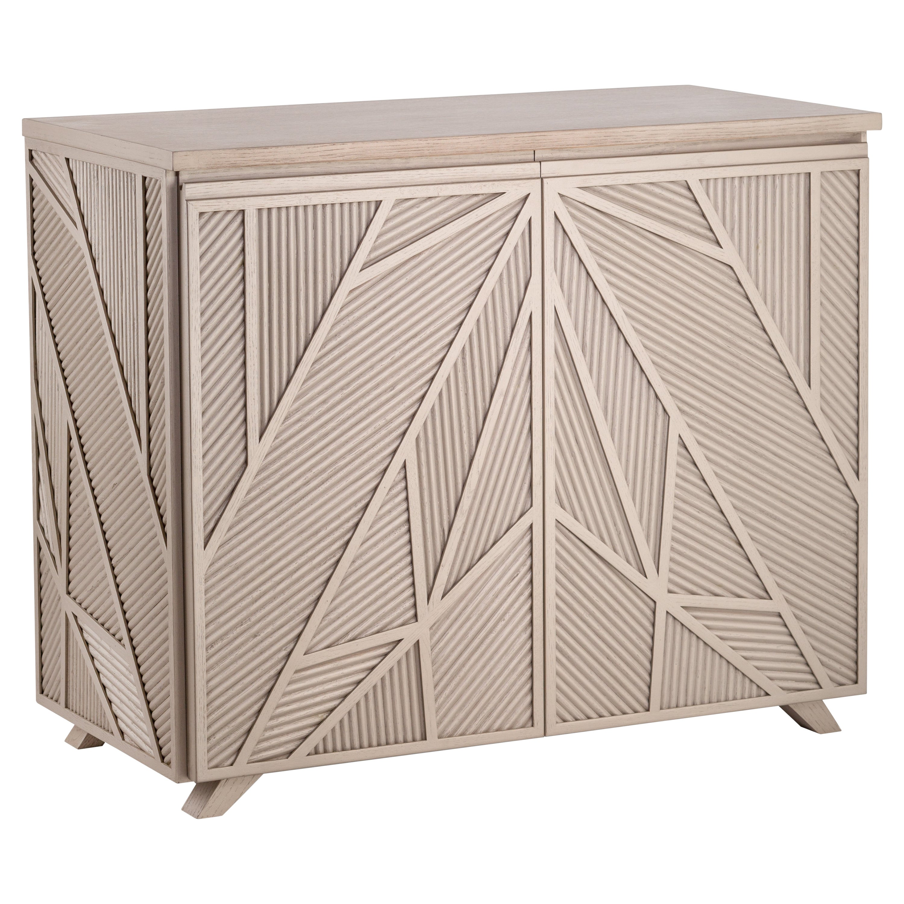 Geometric Oak Sticks Cabinet Inspired from Ancient Egypt Use of Palm Branches
