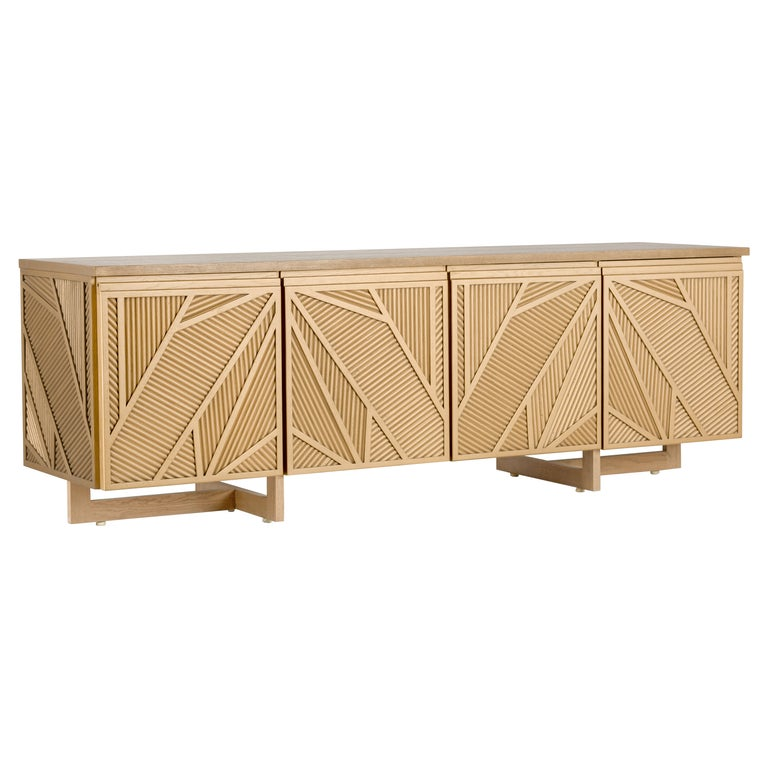 Geometric Oak Sticks TV Unit Inspired from Ancient Egypt Use of Palm Branches For Sale
