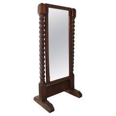 Antique English Victorian Arts & Crafts Barley Twist Oak Cheval Mirror