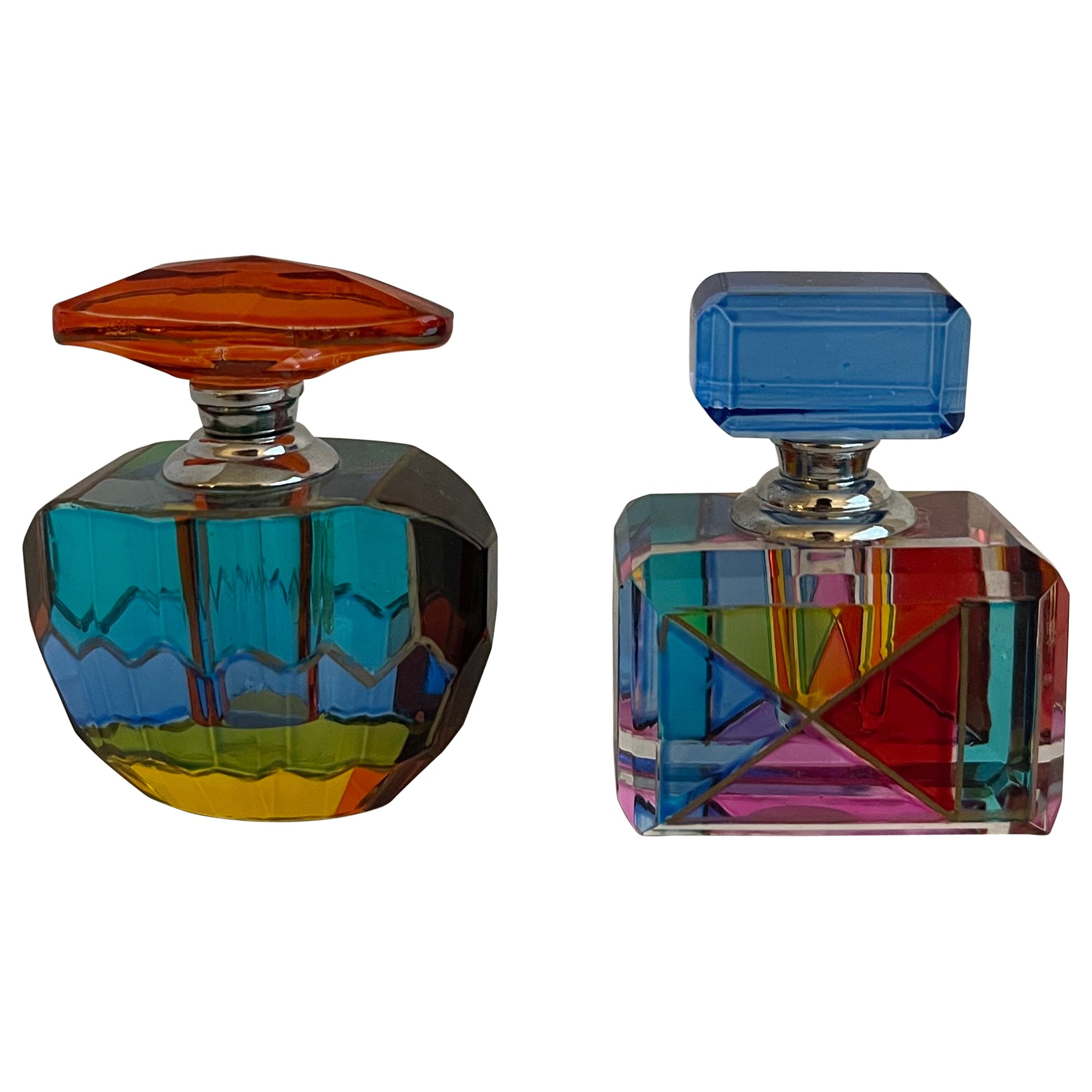 Murano Colored Glass Perfume Bottles, Set of 2