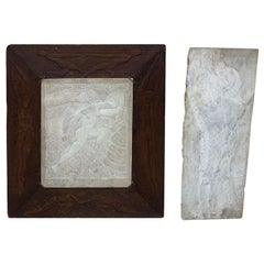 Pair of Art Deco Marble Framed Nude Wall Plaques Circa 1936 Signed Knute