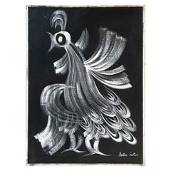 Modernist Artist Gustavo Martinez Fancy Rooster Oil Painting Signed 1970s Mexico