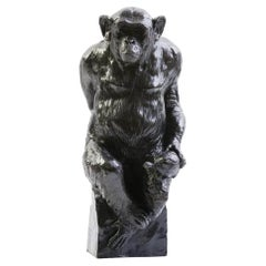 """Bronze Chimpanzee Named """"Socrate and his Turtle"""" by Damien Colcombet, France"""